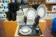 Black & white theme melamine tableware by Tarhong is available in the Home & Garden Department in the basement at Gibbons Company.